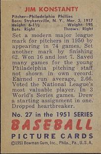 1951 Bowman #27 Jim Konstanty back image