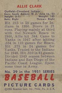 1951 Bowman #29 Allie Clark back image
