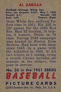 1951 Bowman #35 Al Zarilla back image