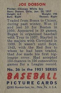 1951 Bowman #36 Joe Dobson back image