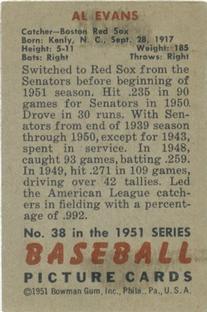 1951 Bowman #38 Al Evans back image
