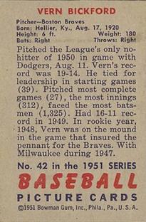 1951 Bowman #42 Vern Bickford back image