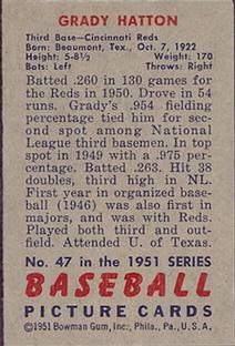 1951 Bowman #47 Grady Hatton back image