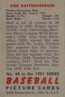 1951 Bowman #48 Ken Raffensberger back image