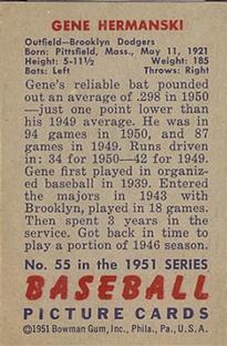 1951 Bowman #55 Gene Hermanski back image
