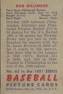 1951 Bowman #63 Bob Dillinger back image