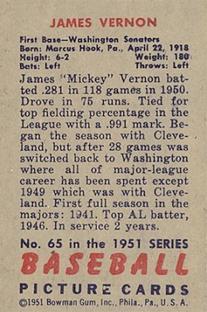 1951 Bowman #65 Mickey Vernon back image