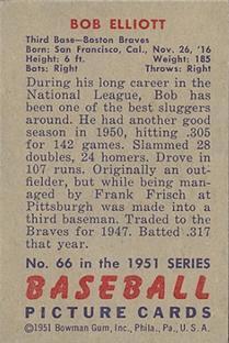 1951 Bowman #66 Bob Elliott back image