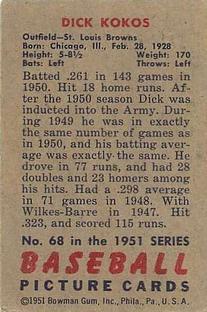 1951 Bowman #68 Dick Kokos back image