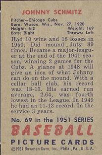 1951 Bowman #69 Johnny Schmitz back image