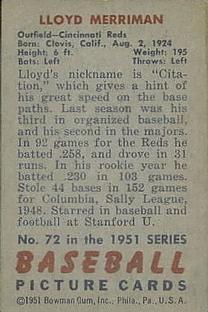 1951 Bowman #72 Lloyd Merriman back image