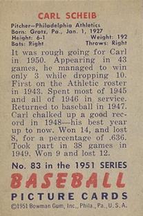 1951 Bowman #83 Carl Scheib back image