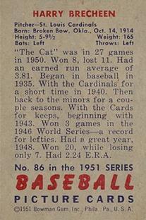 1951 Bowman #86 Harry Brecheen back image