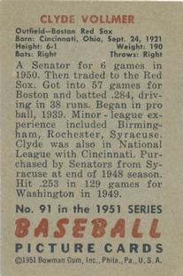 1951 Bowman #91 Clyde Vollmer back image