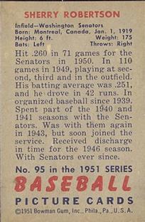 1951 Bowman #95 Sherry Robertson back image