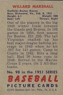 1951 Bowman #98 Willard Marshall back image