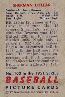 1951 Bowman #100 Sherm Lollar back image