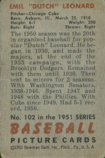 1951 Bowman #102 Dutch Leonard back image
