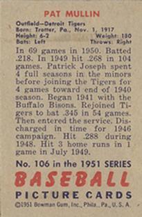 1951 Bowman #106 Pat Mullin back image