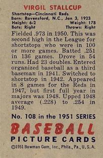 1951 Bowman #108 Virgil Stallcup back image