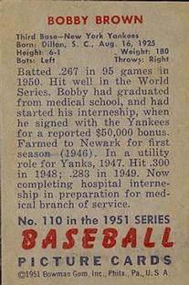 1951 Bowman #110 Bobby Brown back image