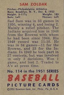 1951 Bowman #114 Sam Zoldak back image