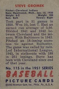 1951 Bowman #115 Steve Gromek back image