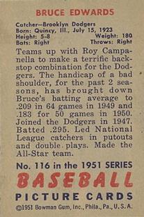 1951 Bowman #116 Bruce Edwards back image