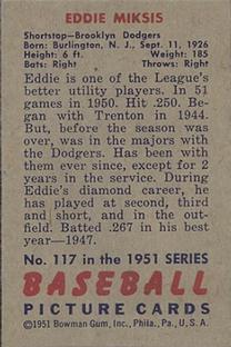1951 Bowman #117 Eddie Miksis RC back image