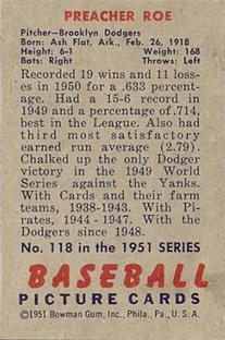 1951 Bowman #118 Preacher Roe back image