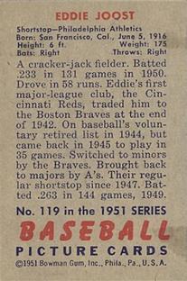 1951 Bowman #119 Eddie Joost back image