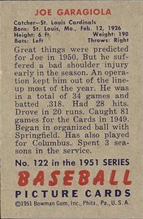 1951 Bowman #122 Joe Garagiola RC back image