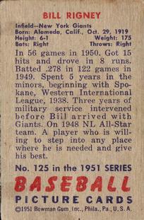 1951 Bowman #125 Bill Rigney back image