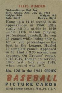 1951 Bowman #128 Ellis Kinder back image