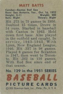 1951 Bowman #129 Matt Batts back image