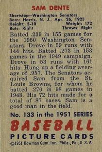 1951 Bowman #133 Sam Dente back image