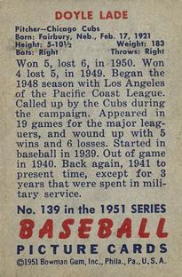 1951 Bowman #139 Doyle Lade back image