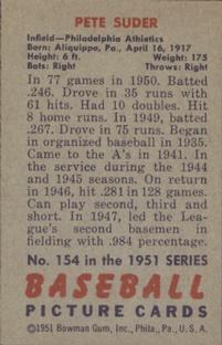 1951 Bowman #154 Pete Suder back image