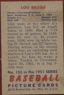 1951 Bowman #155 Lou Brissie back image