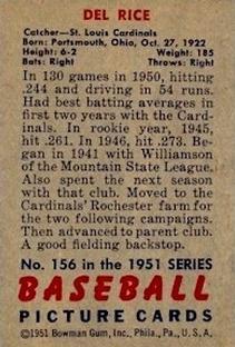 1951 Bowman #156 Del Rice back image