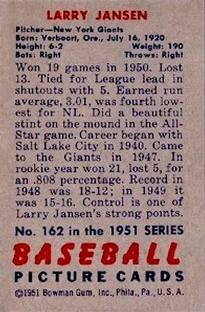 1951 Bowman #162 Larry Jansen back image