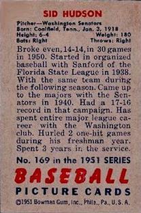 1951 Bowman #169 Sid Hudson back image