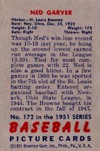 1951 Bowman #172 Ned Garver back image