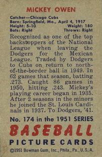 1951 Bowman #174 Mickey Owen back image