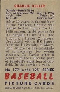 1951 Bowman #177 Charlie Keller back image