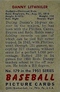 1951 Bowman #179 Danny Litwhiler back image