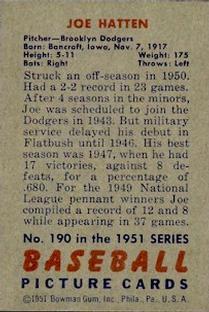 1951 Bowman #190 Joe Hatten back image