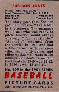 1951 Bowman #199 Sheldon Jones back image