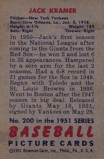 1951 Bowman #200 Jack Kramer back image