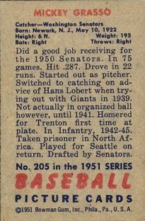 1951 Bowman #205 Mickey Grasso RC back image